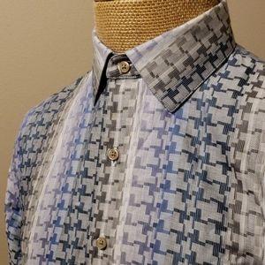 Robert Graham flip cuff blue grey pattern shirt